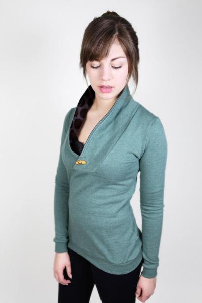 Bio Sweater Kraja grün melange / Dots schwarz