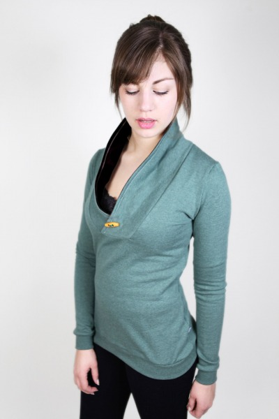 Bio Sweater Kraja grün meliert schwarz