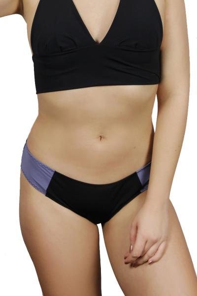 Recycling Bikinihose Lorelow schwarz / grau