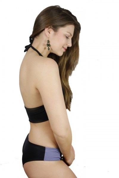 Recycling Biniki-panties Lorelow black / grey