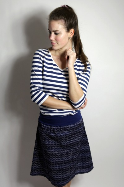 Organic skirt Freudian blue zig-zag