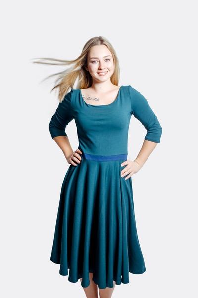 Organic dress Vrida smaragd/ blue