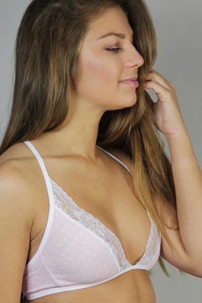 Bio bra Noir pink dots white