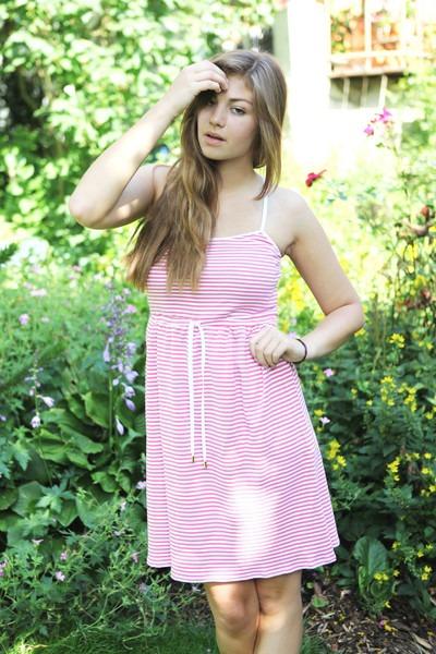 Bio Kleid himbeer/ weiß gestreift
