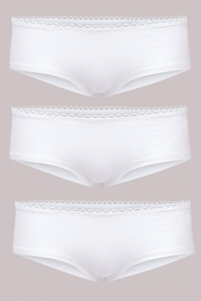 Bio hipster panties set: White x3
