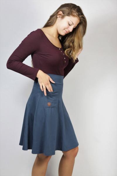 Organic skirt Welle lang indico blue