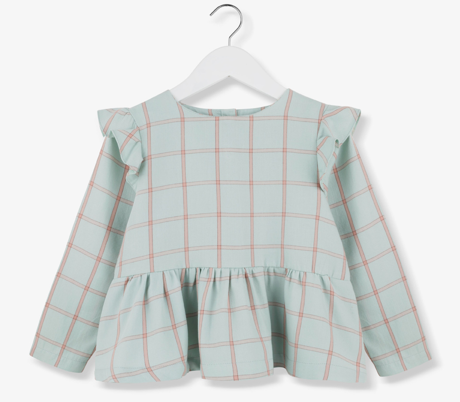 Plaid Frill Blouse MINT 2