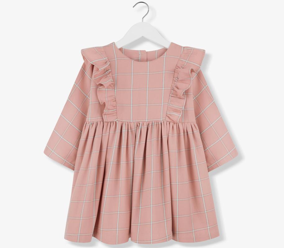 Plaid Frill Dress CORAL - 2