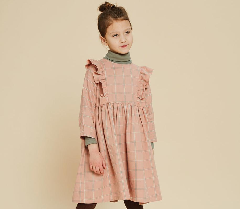 Plaid Frill Dress CORAL - 1