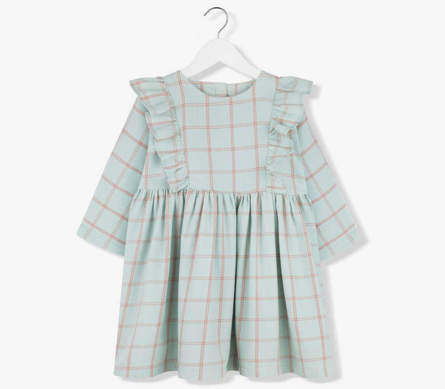 Plaid Frill Dress MINT - 2