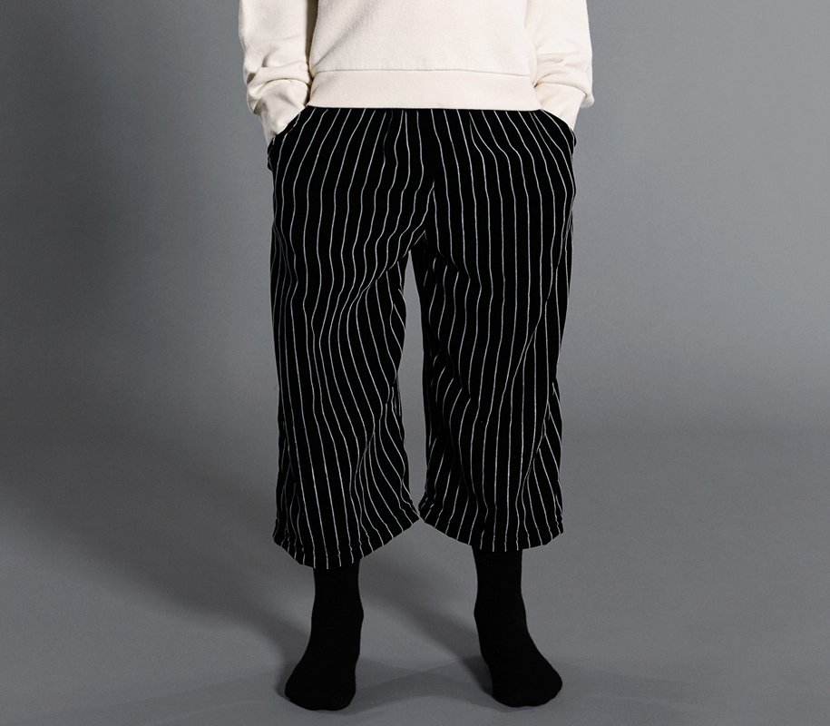 Cropped Pants STRIPED VELVET