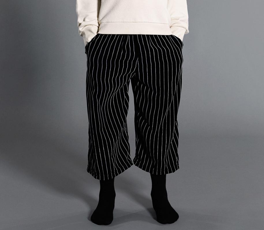 Cropped Pants STRIPED VELVET