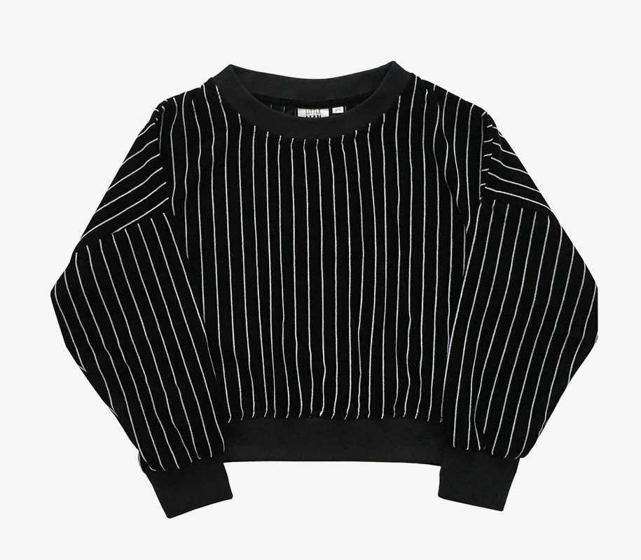 Cropped Sweater STRIPED VELVET