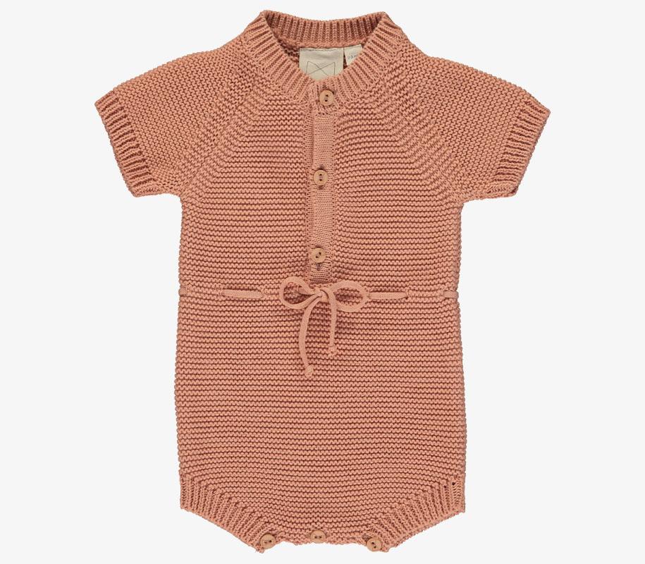 Knitted Short Romper SALMON