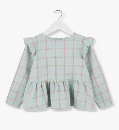 Plaid Frill Blouse MINT Kids on