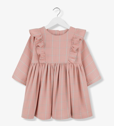 Plaid Frill Dress CORAL Kids on