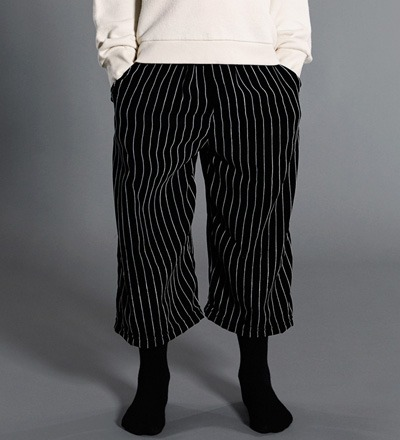 Cropped Pants STRIPED VELVET Little Man