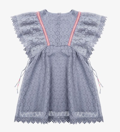 Dress NORAH Silver Cloud Flower Lace - Louise Misha