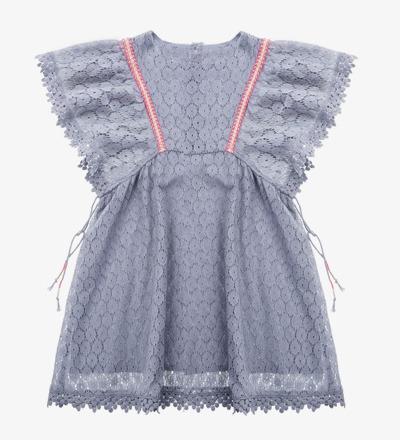Dress NORAH Silver Cloud Flower Lace - Louise Misha