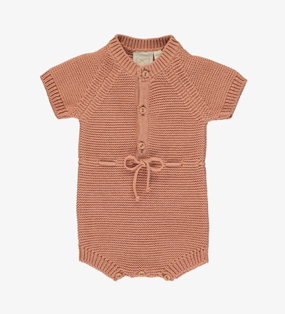 Knitted Short Romper SALMON Mini Sibling