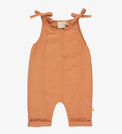 Tie Romper SALMON - Mini Sibling