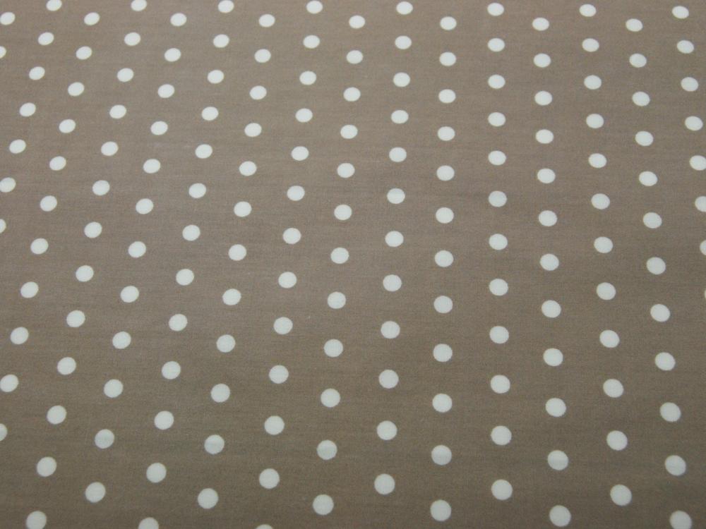 Beschichtete Baumwolle - Weiße Dots auf Beige 50x70 cm - 1