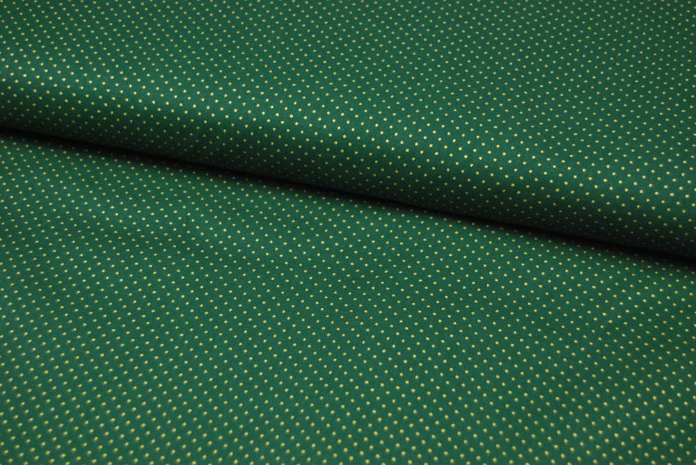 Waldgrüne Baumwolle mit goldene Minipunkte 0,5 Meter - 3