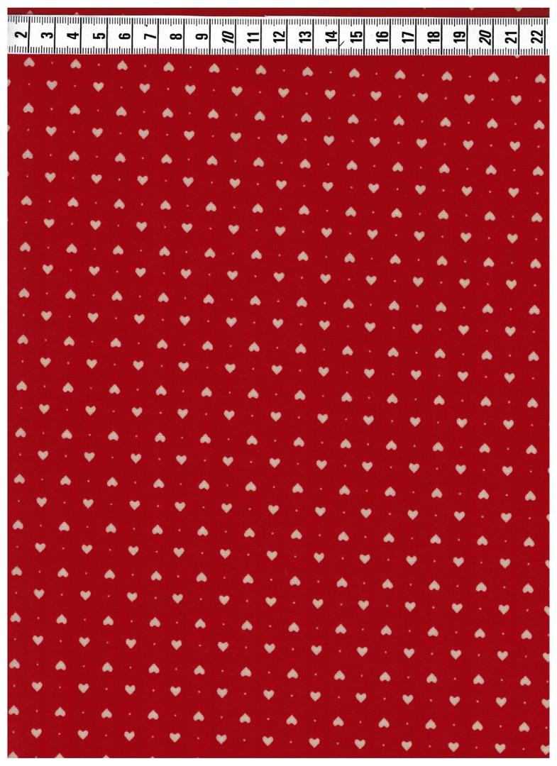 Beschichtete Baumwolle - Herzen auf Rot 50 x72 cm - 2