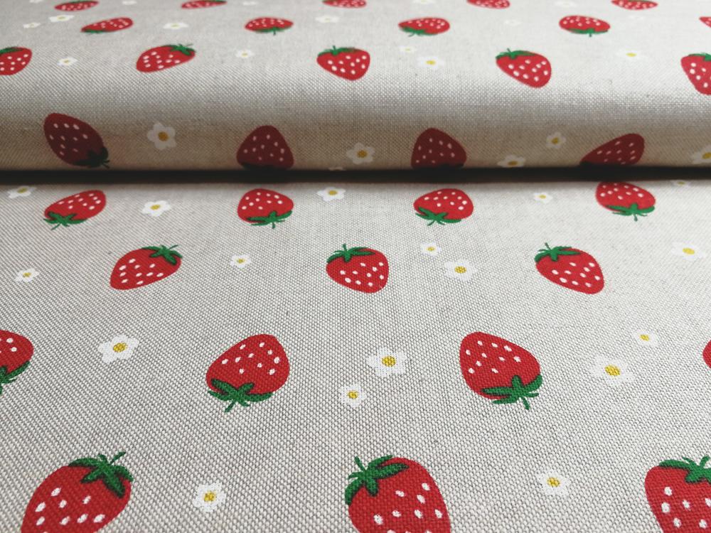 Erdbeeren auf Natur - Dekostoff - 0,5m - 1