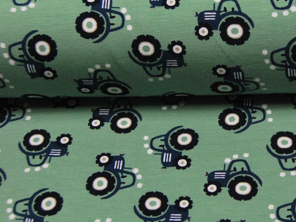 Jersey - Mini Tractor - Blaue Trecker auf Olivegrün - 0,5 Meter - 4