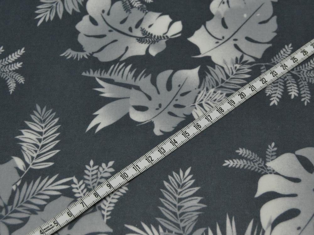 Beschichtete Baumwolle - Blumenmuster auf Grau 50x68 cm - 2