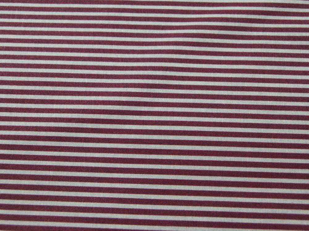 Beschichtete Baumwolle Gestreift in Sand Bordeaux