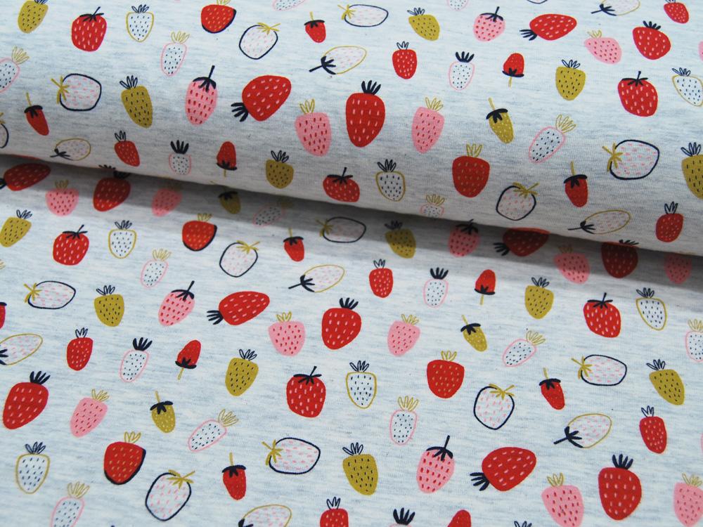 Jersey Strawberry Ecru Melange Erdbeeren auf