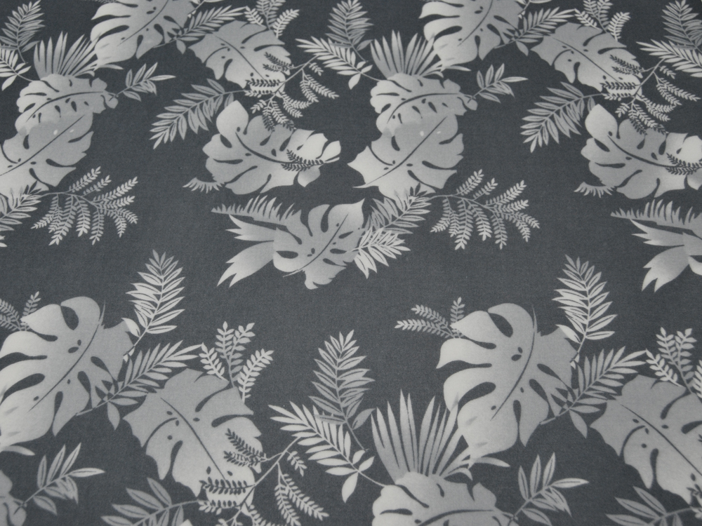 Beschichtete Baumwolle - Blumenmuster auf Grau 50x68 cm - 1