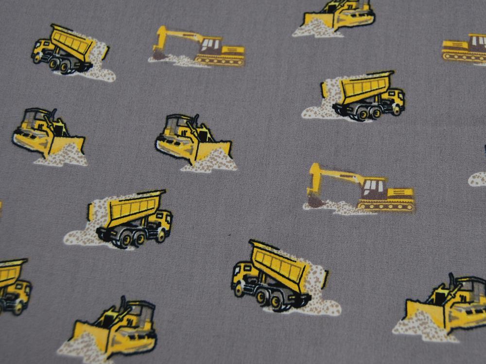 Baumwolle - Baustellenfahrzeuge auf Grau -