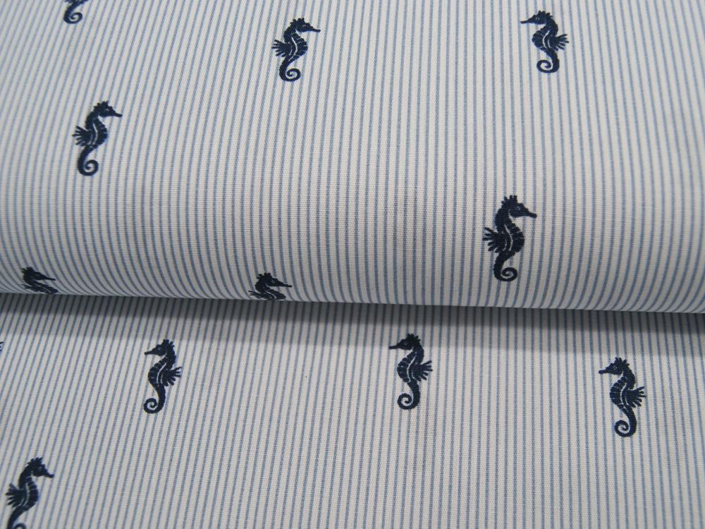 Baumwolle Sea Horses Seepferdchen auf Blau-Weiß