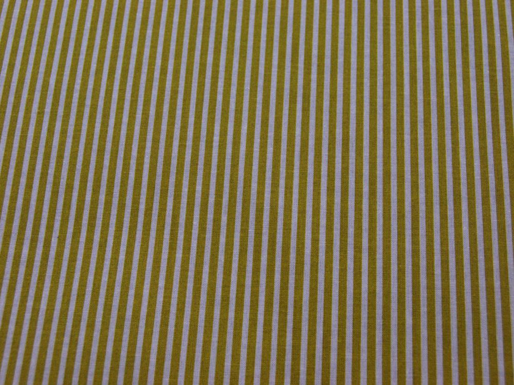 Beschichtete Baumwolle Gestreift in Weiß-Senf cm - 3