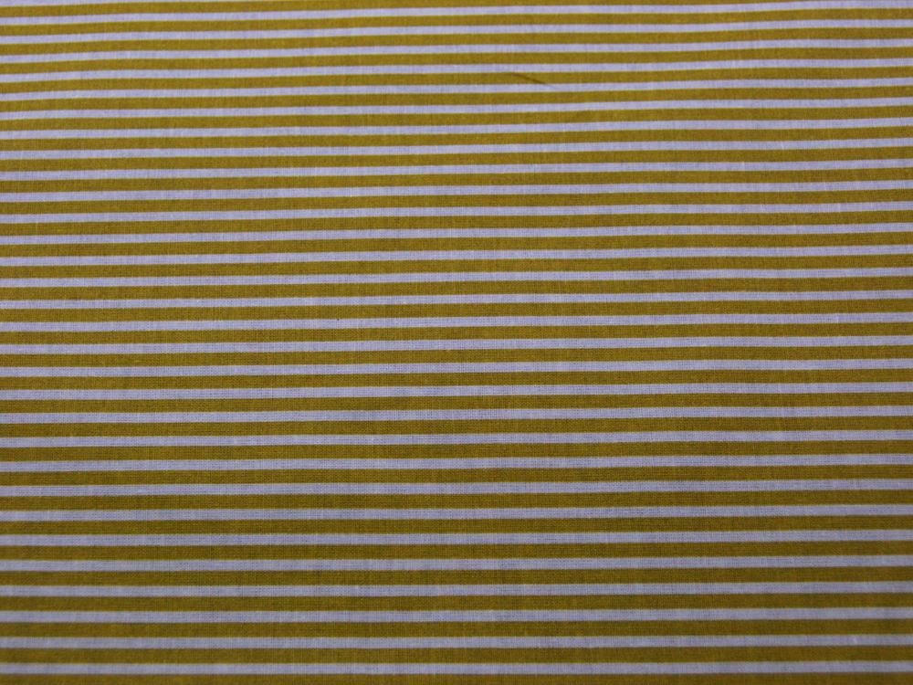 Beschichtete Baumwolle Gestreift in Weiß-Senf 135cm