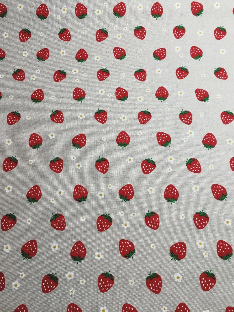 Erdbeeren auf Natur - Dekostoff - 0,5m - 3