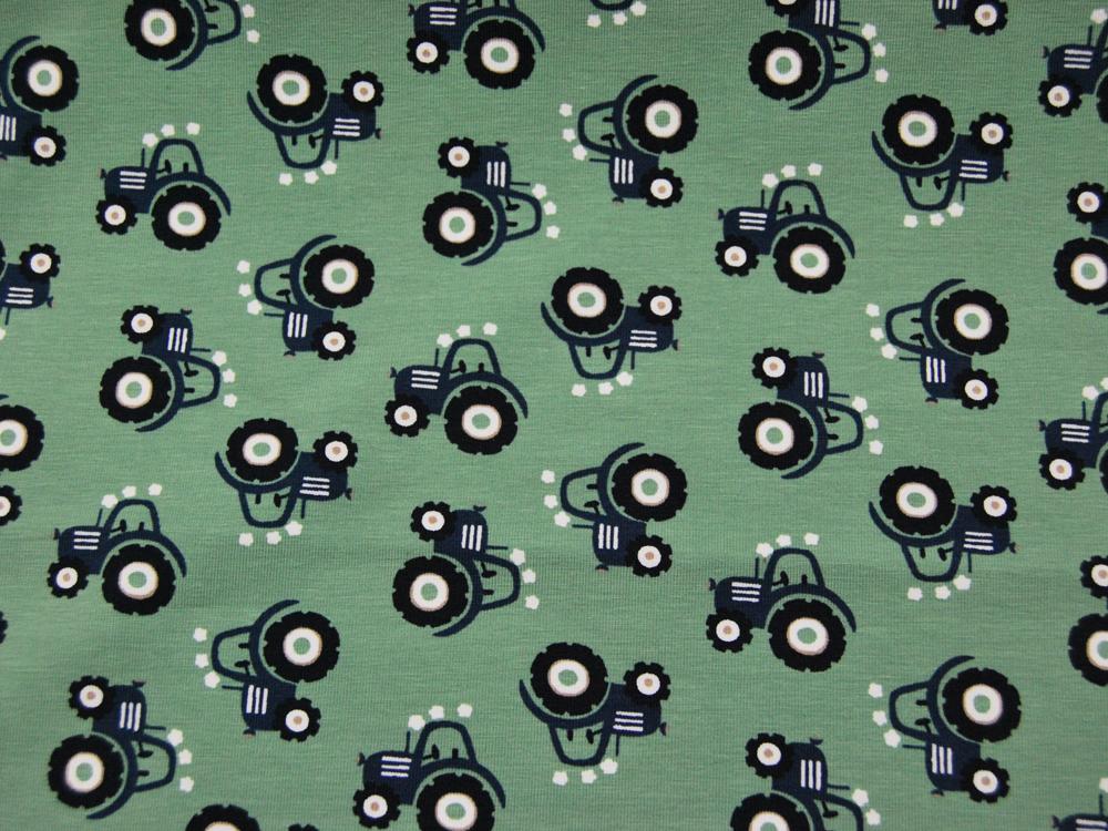 Jersey - Mini Tractor - Blaue Trecker auf Olivegrün - 0,5 Meter