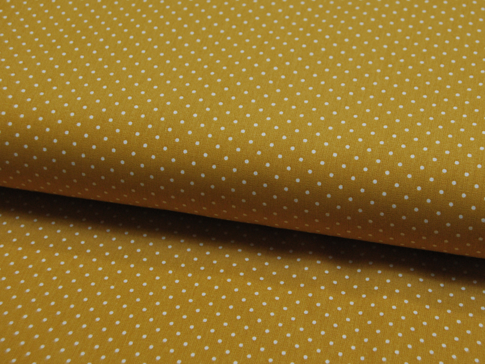 Petit Dots auf Ocker - Baumwolle 0,5 m - 1