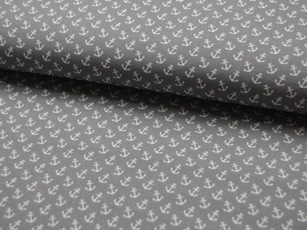 Baumwolle - Anker auf Grau 0,5m - 1