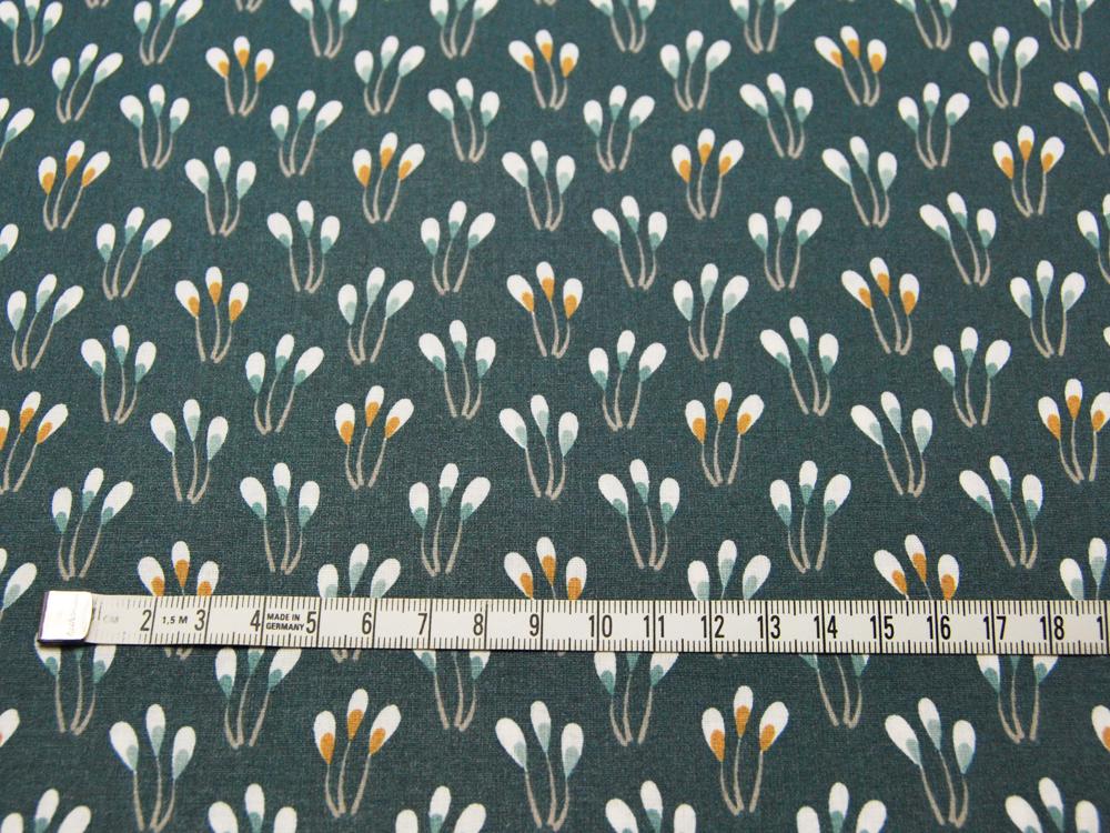 Beschichtete Baumwolle - Blüten auf Petrol 50 x75 cm - 2