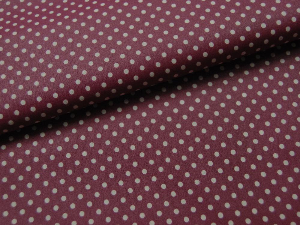 Beschichtete Baumwolle Punkte auf Bordeaux 140cm