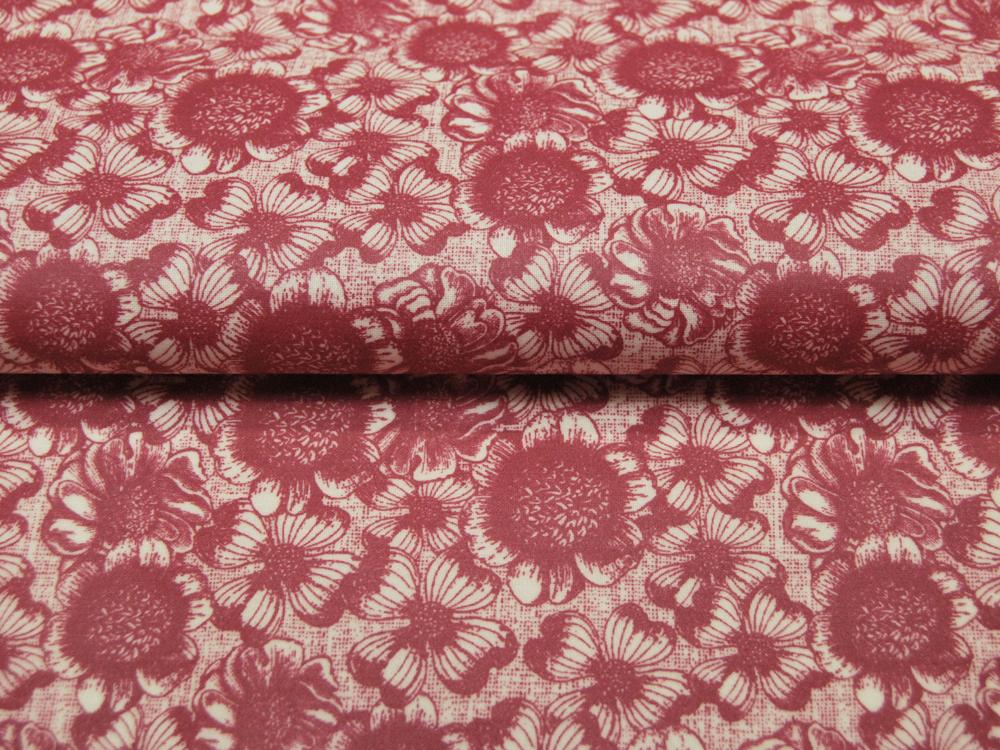 Beschichtete Baumwolle Blumenmuster auf Rot 130cm
