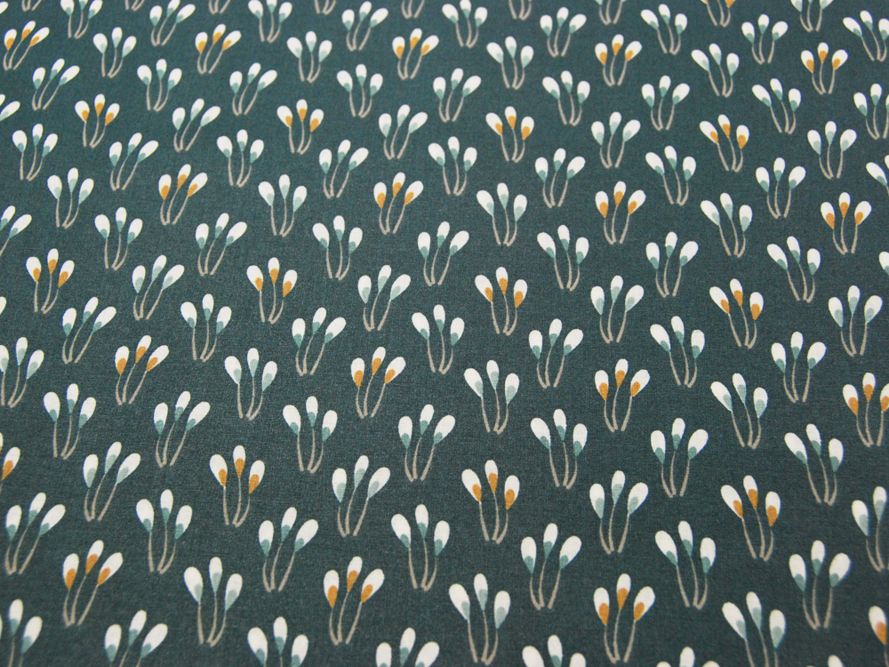 Beschichtete Baumwolle - Blüten auf Petrol 50 x75 cm - 1
