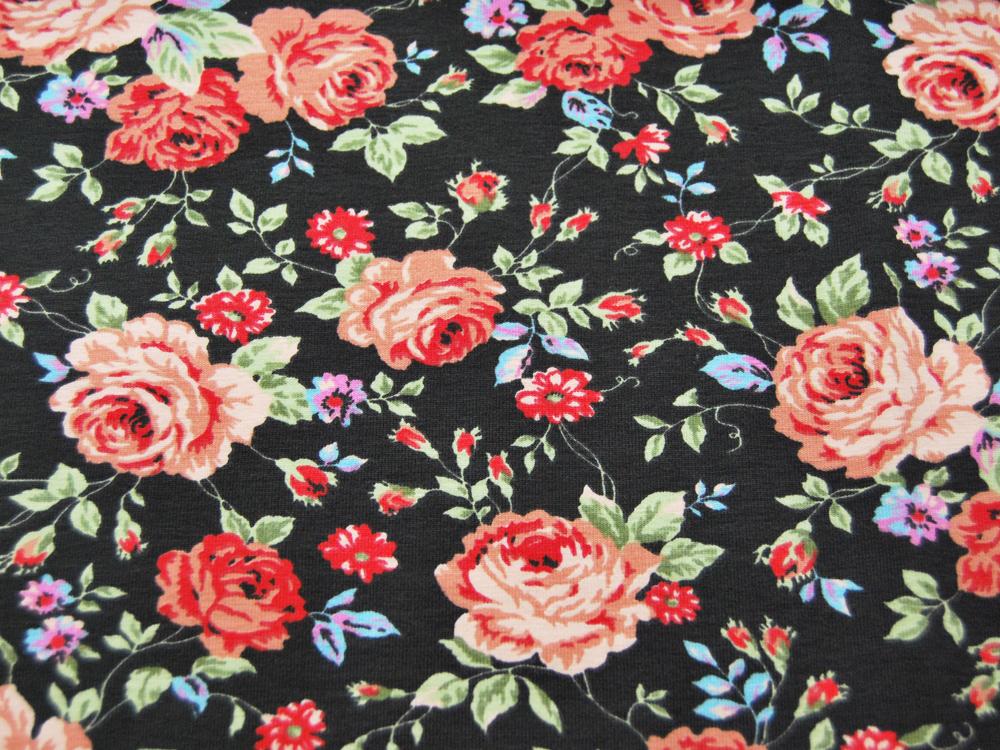 Jersey - Blumenmuster auf Schwarz - 0,5 Meter - 1