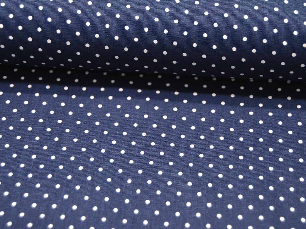 Small Dots Minipunkte auf Navy Baumwolle