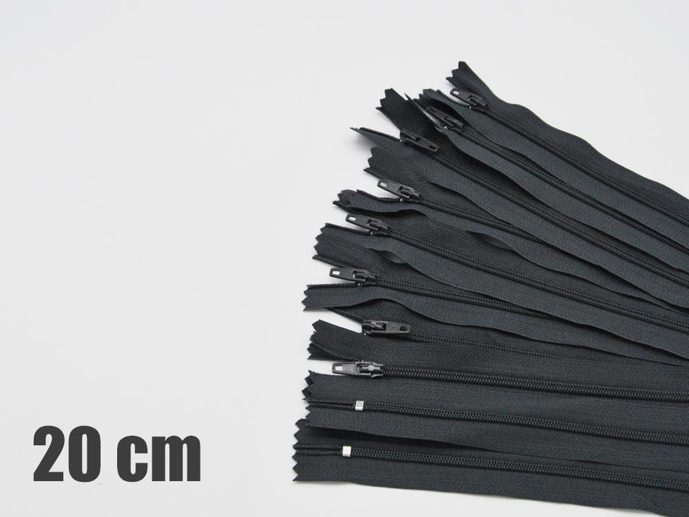 10 x 20cm dunkelgraue Reißverschlüsse