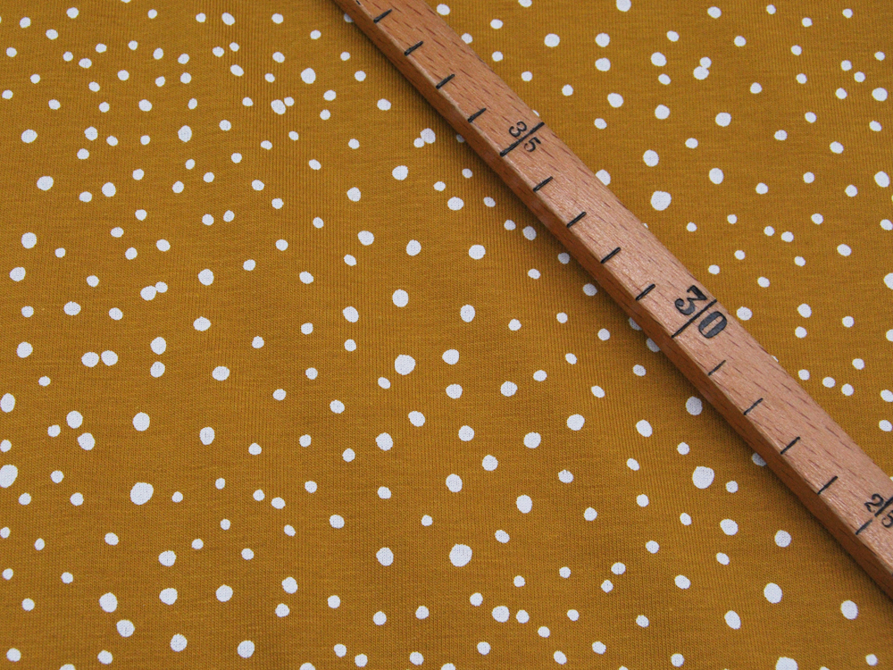 JERSEY Kleine Dots auf Ocker 05m